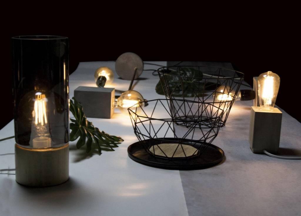 Gusta Gusta Houten Vintage Lamp 13x13x22cm