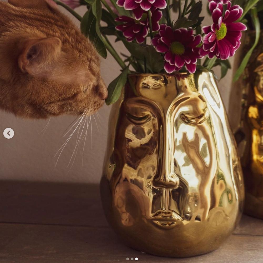 Gusta Gusta Gouden Vaas Met Gezicht H19,5cm