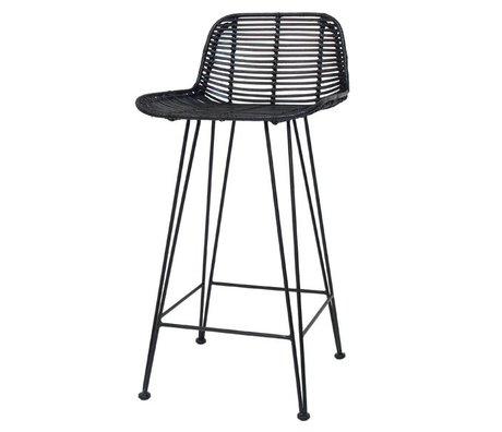 HK-living Bar stool made of rattan, black, 88x47x46cm