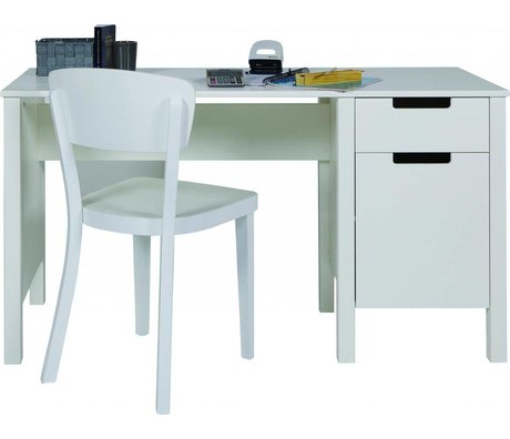 LEF collections Desk 'Jade' from pine, white, 75x140x60cm