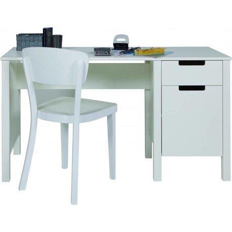 LEF collections Desk 'Jade' di pino, bianco, 75x140x60cm