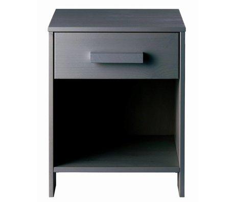 LEF collections Comodino DENNIS pino, grigio acciaio, 40x34x52cm