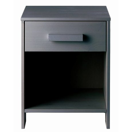 LEF collections Bedside DENNIS pine, steel gray, 40x34x52cm