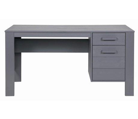 LEF collections Schreibtisch DENNIS aus Kiefer, stahlgrau, 140x59x74cm
