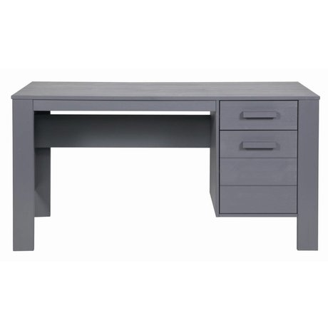 LEF collections DENNIS bureau en bois de pin, acier gris, 140x59x74cm