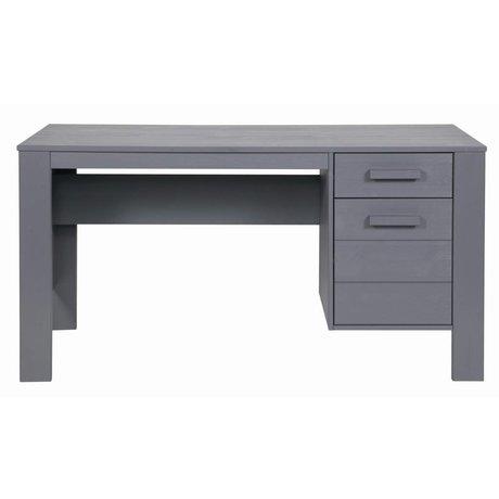 LEF collections DENNIS scrivania in legno di pino, grigio acciaio, 140x59x74cm