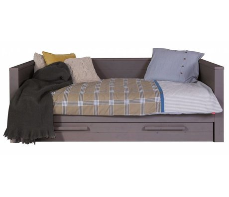 LEF collections Sofa 'Dennis' pine, steel gray, 219x101x73cm