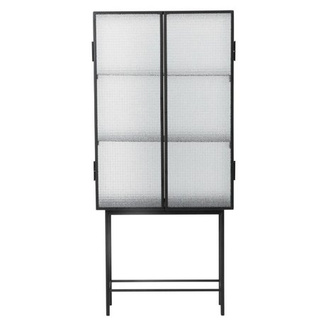 Ferm Living Haze Cabinet fremvise black metal glas 70x155x32cm