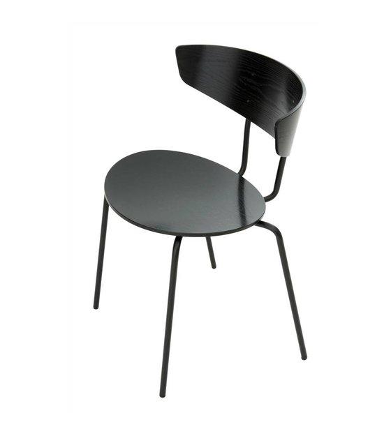 ferm living esszimmerstuhl herman schwarz metall holz. Black Bedroom Furniture Sets. Home Design Ideas