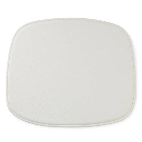 Normann Copenhagen forme coussin de siège en cuir blanc 46x39x1cm
