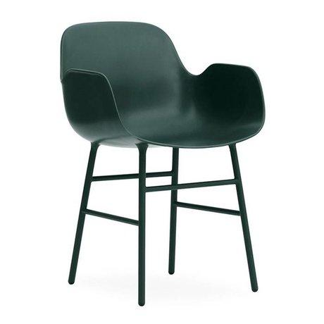 Normann Copenhagen Lehnstul Form grün Kunststoff Stahl 56x52x80cm