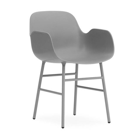 Normann Copenhagen Lehnstuhl Form grau Kunststoff Stahl 56x52x80cm