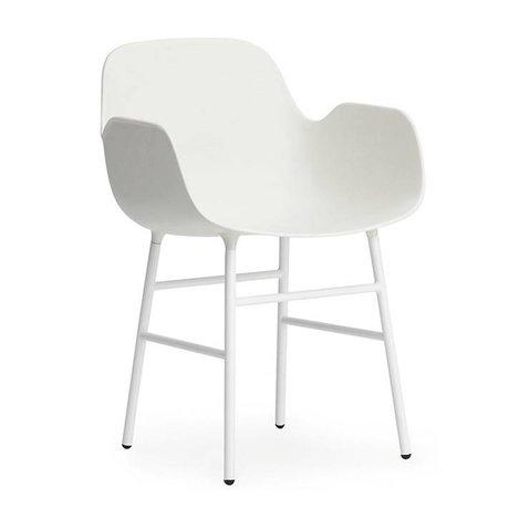 Normann Copenhagen Armchair shape white plastic steel 56x52x80cm