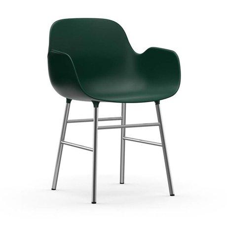 Normann Copenhagen Lehnstuhl Form grün Kunststoff Chrom 56x52x80cm