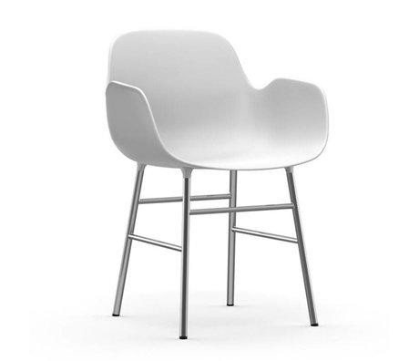 Normann Copenhagen Lehnstuhl Form weiß Kunststoff Chrom 56x52x80cm