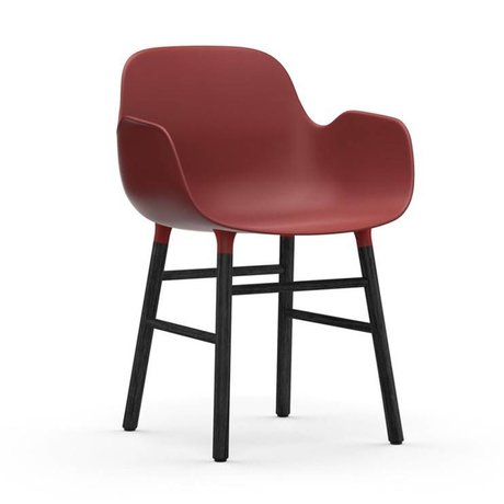 Normann Copenhagen Fauteuil forme 56x52x80cm bois en plastique rouge
