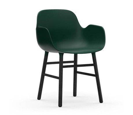 Normann Copenhagen Lehnstuhl Form grün schwarz Kunststoff Holz 56x52x80cm
