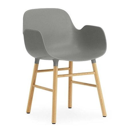 Normann Copenhagen Fauteuil forme bois plastique gris-brun 56x52x80cm