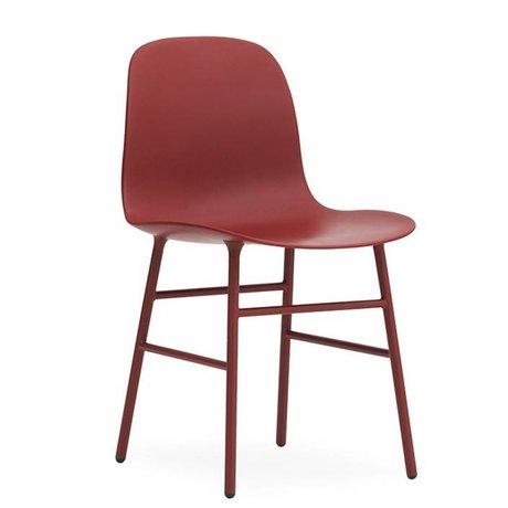Normann Copenhagen forme de selles plastique rouge acier 48x52x80cm