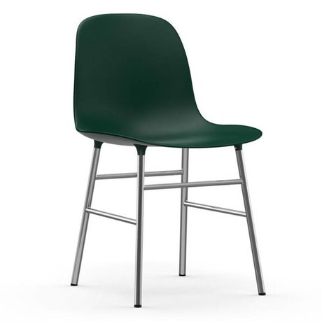 Normann Copenhagen Stuhl Form grün Kunststoff Chrom 48x52x80cm