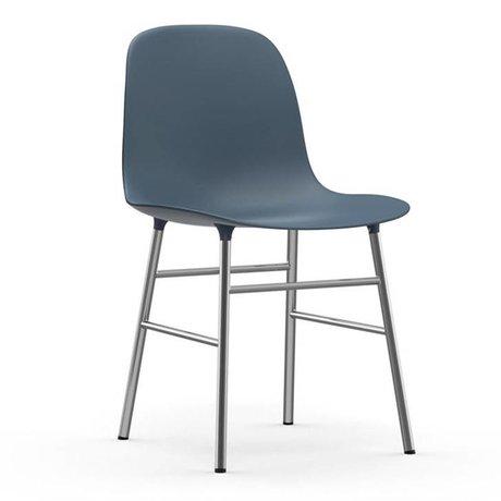 Normann Copenhagen Stuhl Form blau Kunststoff Chrom 48x52x80cm