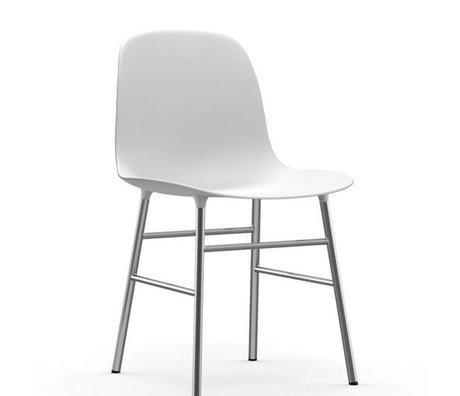Normann Copenhagen Chair shape white plastic chrome 48x52x80cm