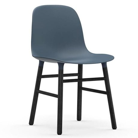 Normann Copenhagen Chair shape blue black plastic wood 48x52x80cm