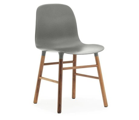 Normann Copenhagen Chair shape gray brown plastic wood 48x52x80cm