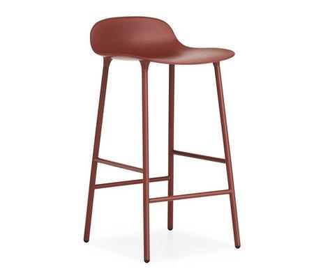 Normann Copenhagen Bar chair shape red plastic steel 44x44x87cm