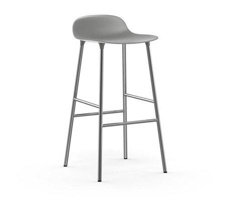 Normann Copenhagen Barstuhl Form grau Kunststoff Chrom 53x45x87cm