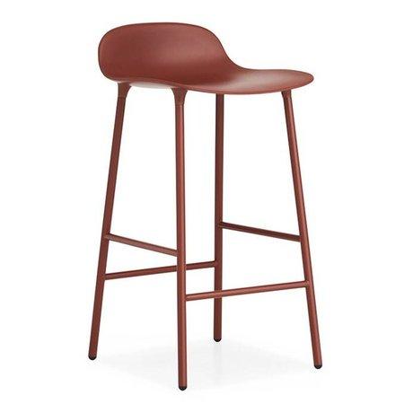 Normann Copenhagen Bar chair shape red plastic steel 42,5x42,5x77cm