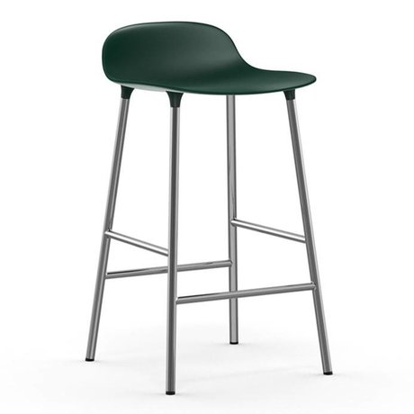 Normann Copenhagen Barstuhl Form grün Kunststoff Chrom 43x42,5x77cm