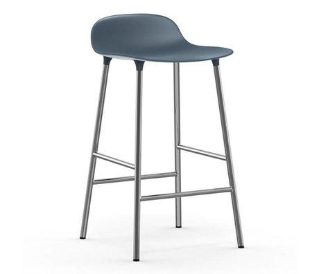 Normann Copenhagen Bar chair shape blue plastic chrome 43x42,5x77cm