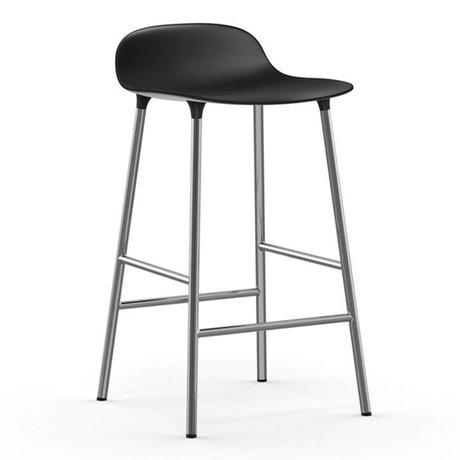 Normann Copenhagen Bar chair shape black plastic chrome 43x42,5x77cm