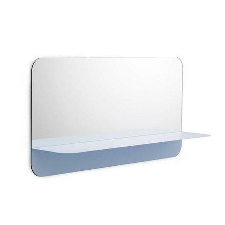 Normann Copenhagen Wandspiegel Horizon hellblau Spiegelglas Stahl 80x40cm