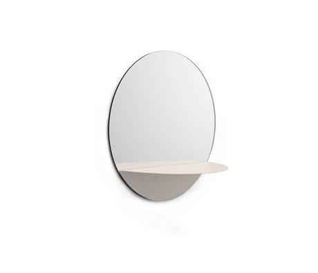 Normann Copenhagen Wandspiegel Horizon rund weiß Spiegelglas Stahl Ø34cm