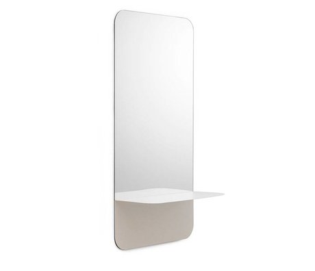 Normann Copenhagen Wandspiegel Horizon vertikal weiß Spiegelglas Stahl 40x80cm