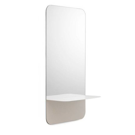 Normann Copenhagen Espejos Horizonte placa blanca vertical 40x80cm de acero de cristal