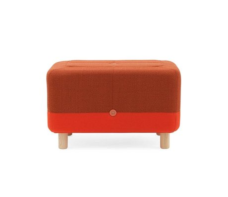 Normann Copenhagen puf naranja Sumo tela roja 65x45x40cm madera