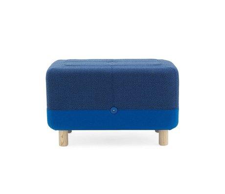 Normann Copenhagen Puf Sumo tela azul de madera 65x45x40cm