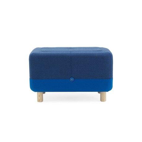 Normann Copenhagen Pouf Sumo tessuto blu legno 65x45x40cm