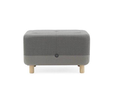 Normann Copenhagen Pouf in tessuto grigio Sumo legno 65x45x40cm