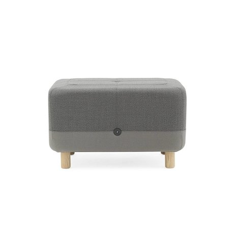 Normann Copenhagen Puf de tela gris Sumo 65x45x40cm madera