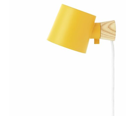 Normann Copenhagen Wall lamp Rise yellow steel wood 17xØ10x9,7cm