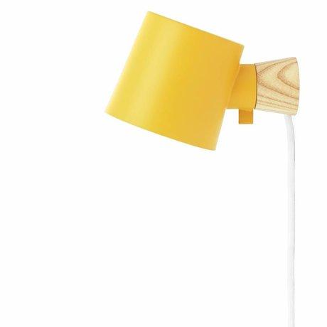 Normann Copenhagen Wandlampe Aumento in acciaio giallo 17xØ10x9,7cm legname