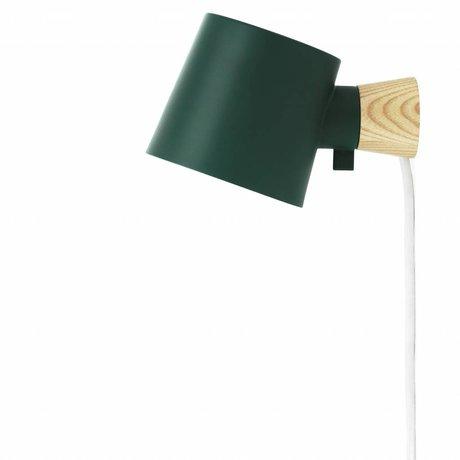 Normann Copenhagen Lámpara de pared de acero subida verde 17xØ10x9,7cm madera