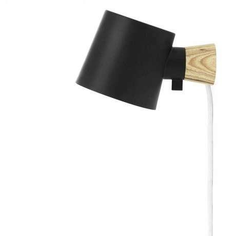 Normann Copenhagen Wall lamp Rise black steel wood 17xØ10x9,7cm
