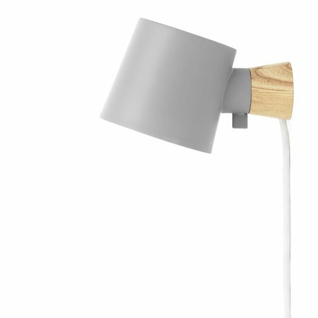 Normann Copenhagen Wall lamp Rise gray steel wood 17xØ10x9,7cm