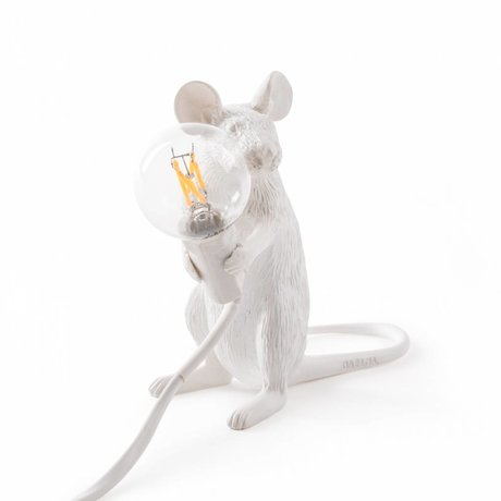 Seletti Tischlampe Mouse weiß Nylon 6,2x15x12cm