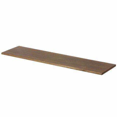Ferm Living Wall shelf brown with black hooks 85x24.5x24.5cm